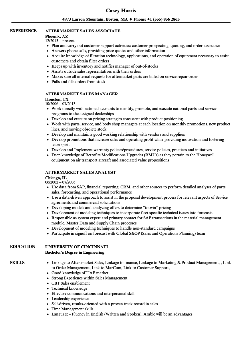 Download Aftermarket Sales Resume Sample As Image File