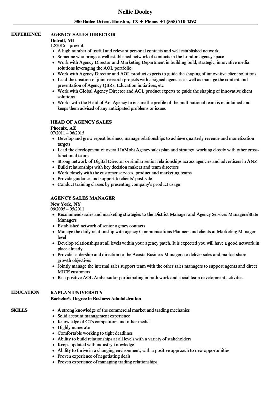 Agency Sales Resume Samples | Velvet Jobs