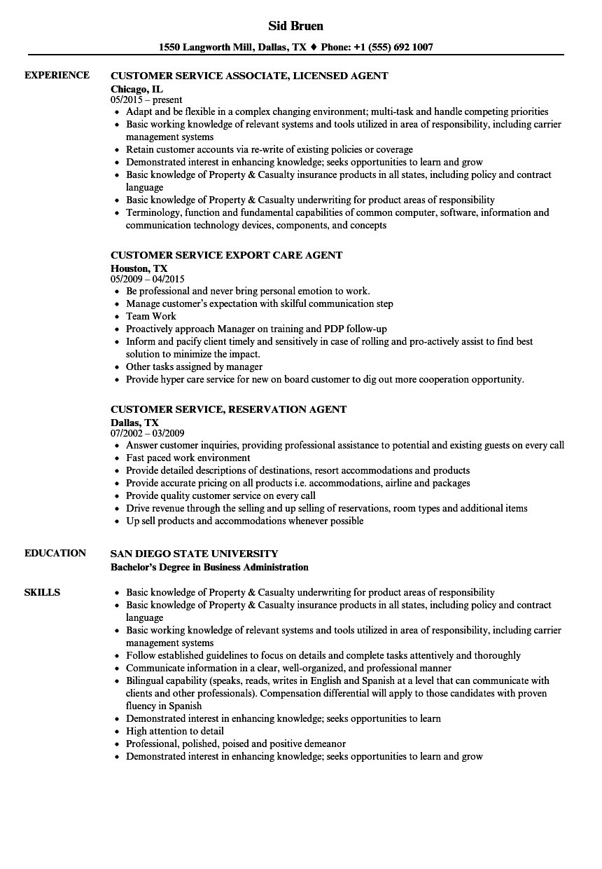 agent  customer service resume samples