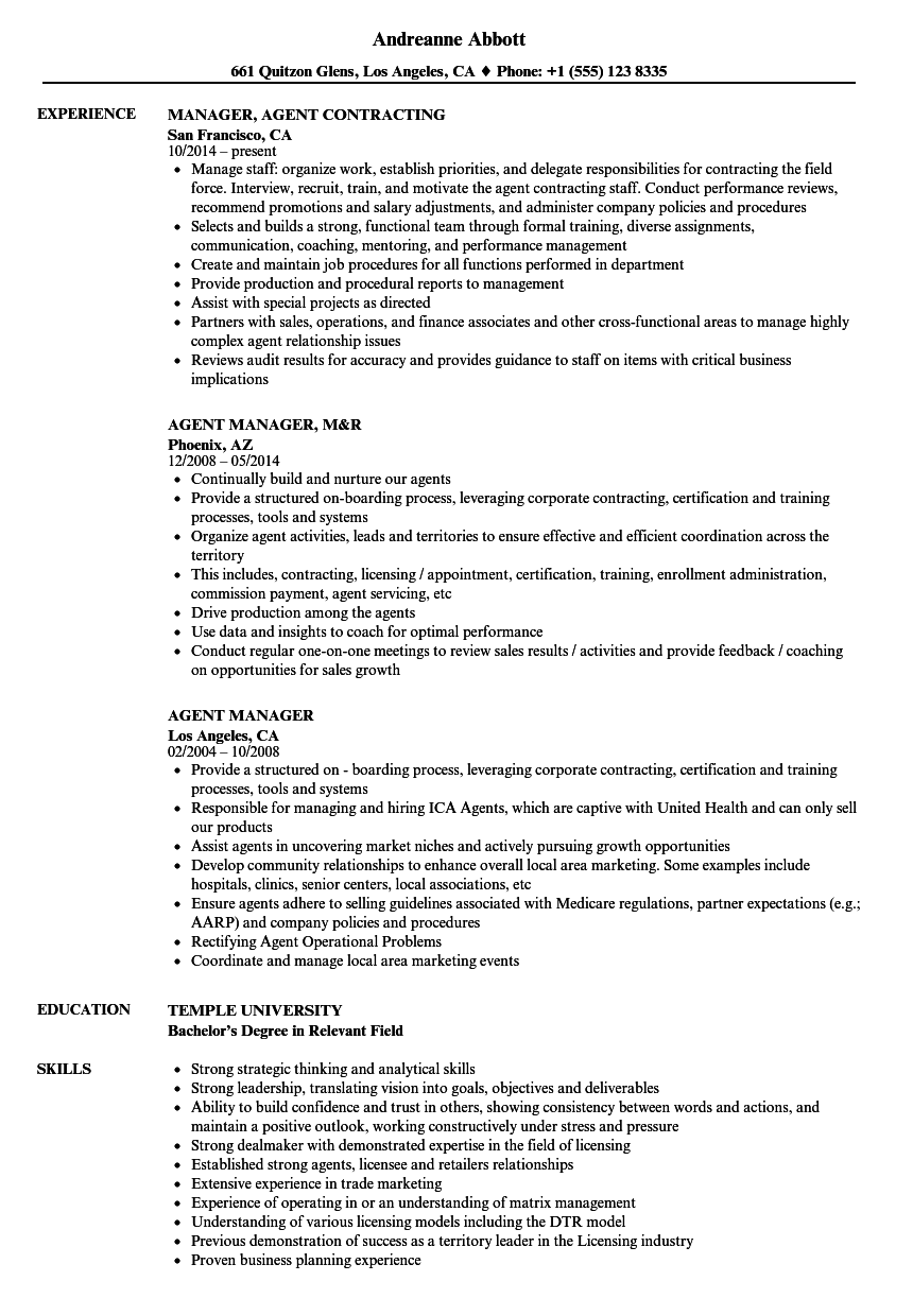 Agent Manager Resume Samples | Velvet Jobs