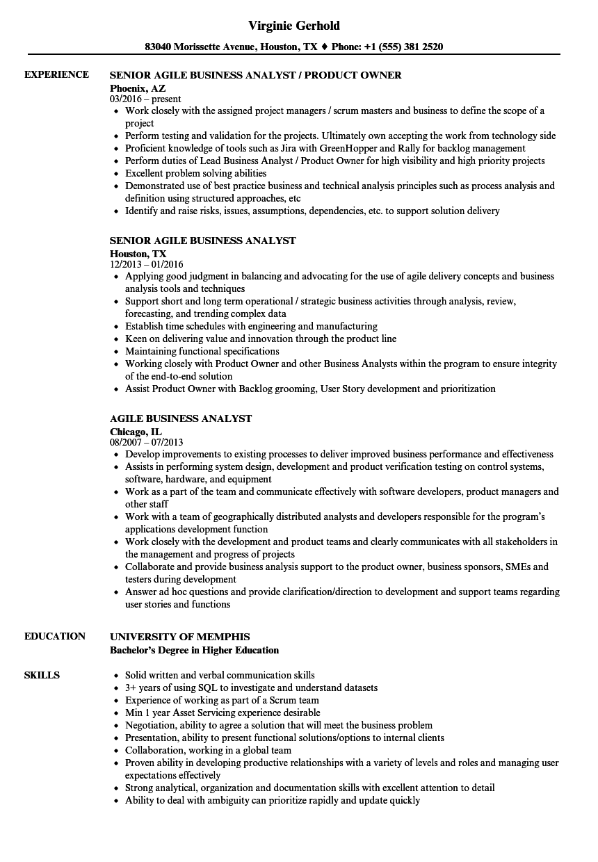 Agile Business Analyst Resume Samples | Velvet Jobs