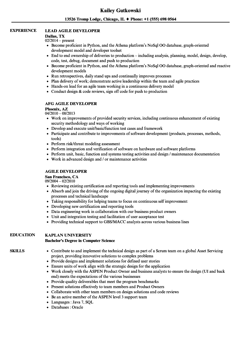 agile developer resume samples