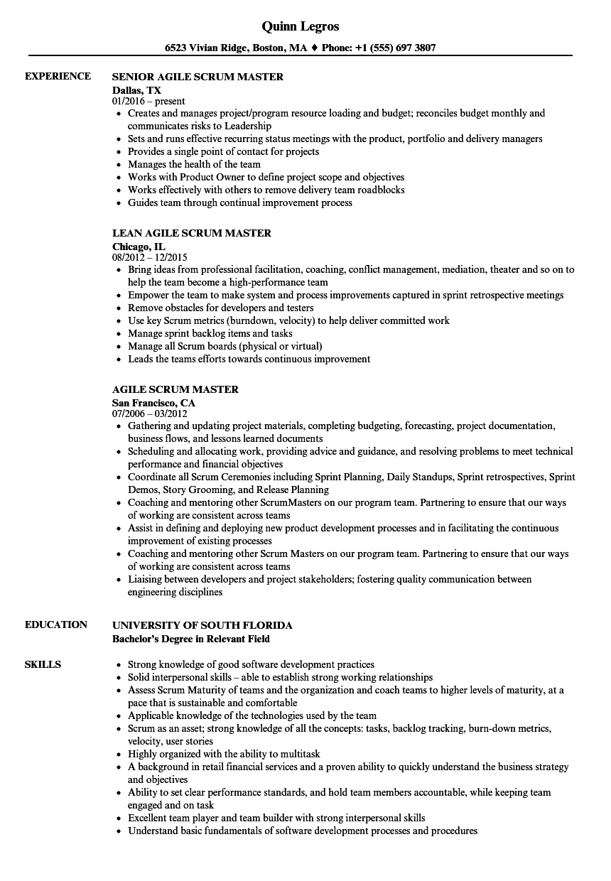 Agile Scrum Master Resume Samples Velvet Jobs