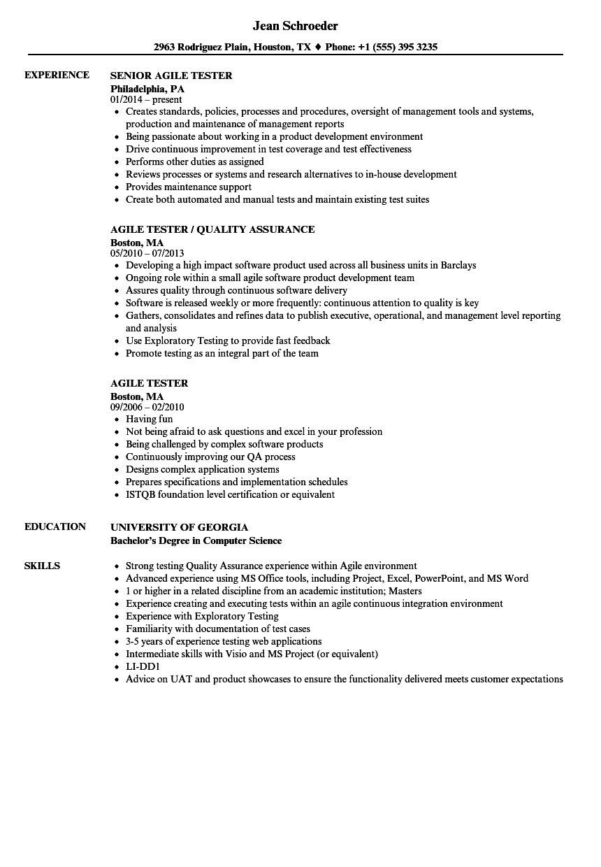 Agile Tester Resume Samples Velvet Jobs