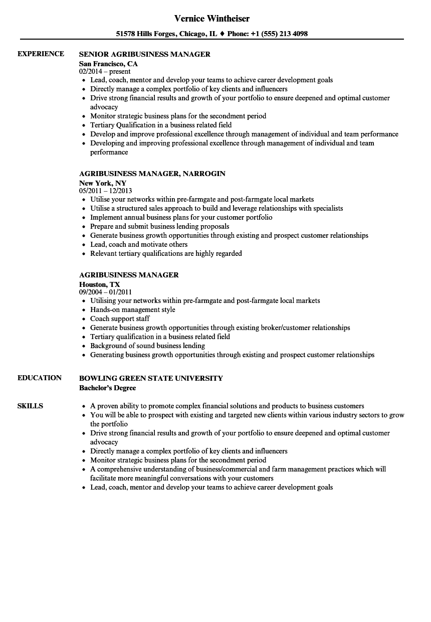 Agribusiness Manager Resume Samples | Velvet Jobs