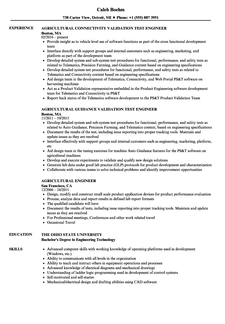 agricultural engineer resume samples
