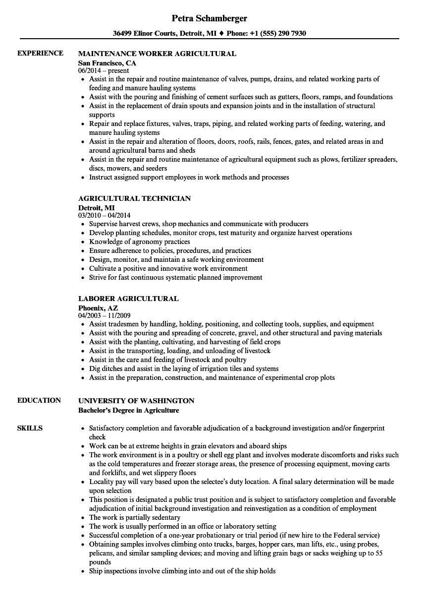 Agricultural Resume Samples | Velvet Jobs