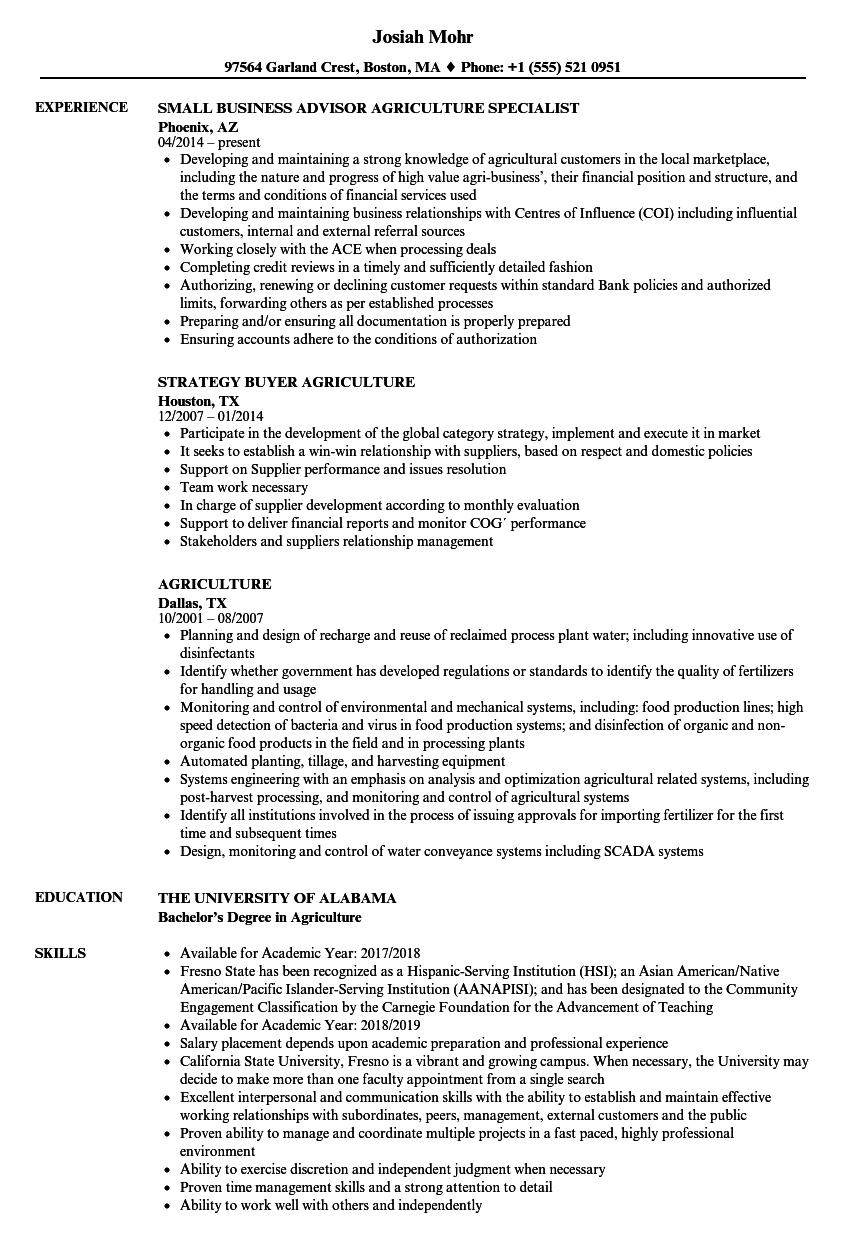 Agriculture Resume Samples | Velvet Jobs