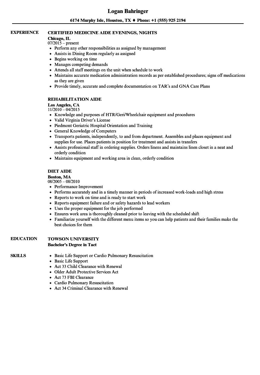 Aide Resume Samples Velvet Jobs