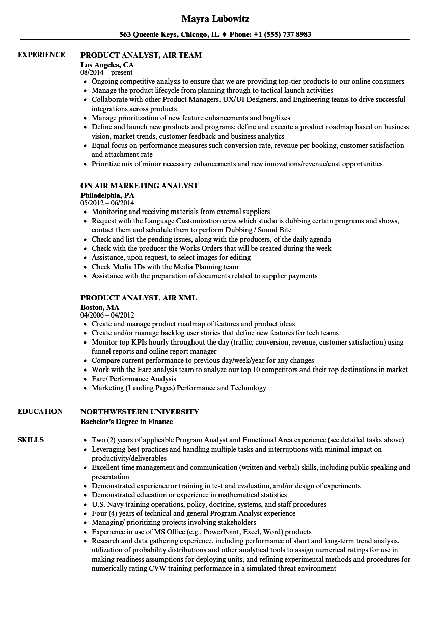 air analyst resume samples