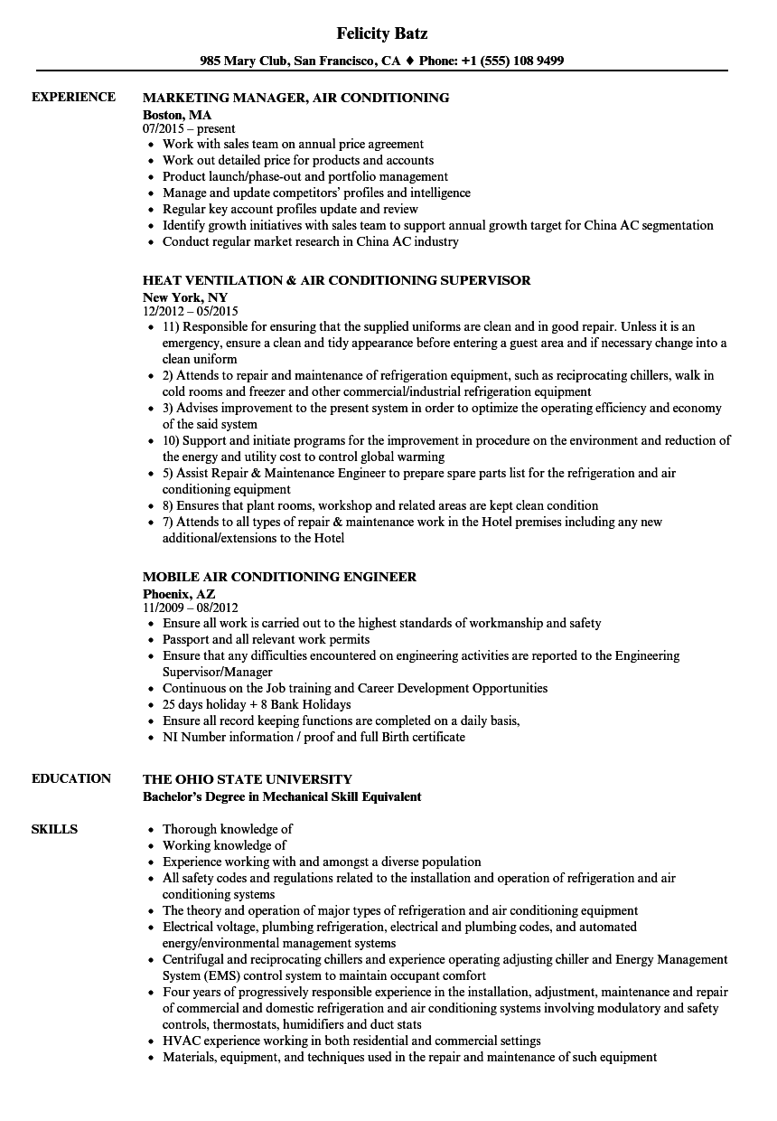 Air Conditioning Resume Samples Velvet Jobs