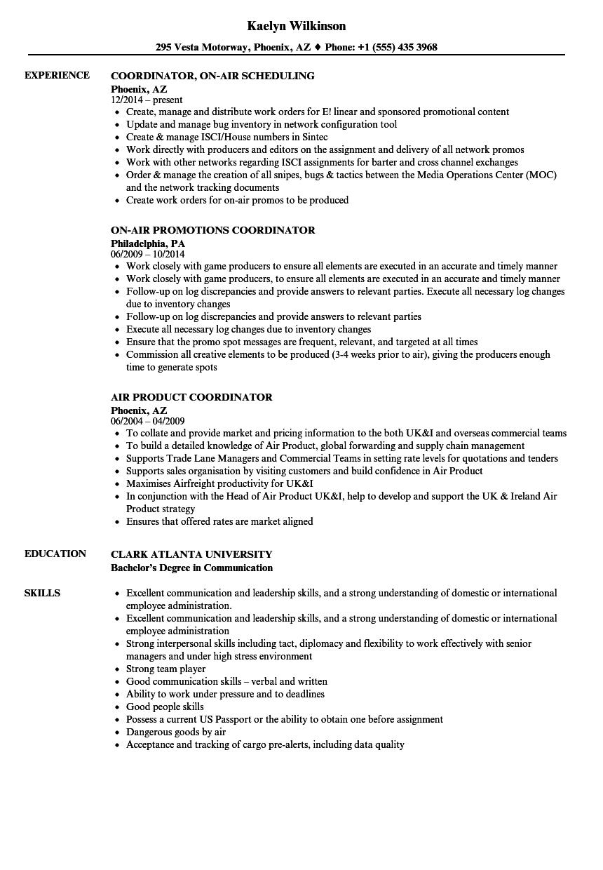 air coordinator resume samples