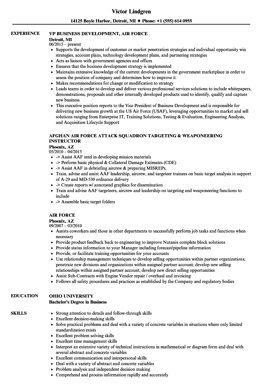 resume Air Force Resume air force resume samples velvet jobs download sample as image file