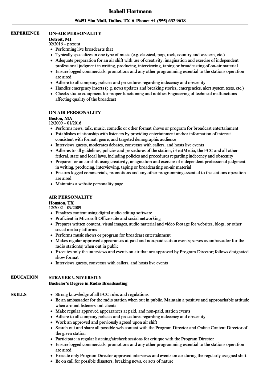 air personality resume samples