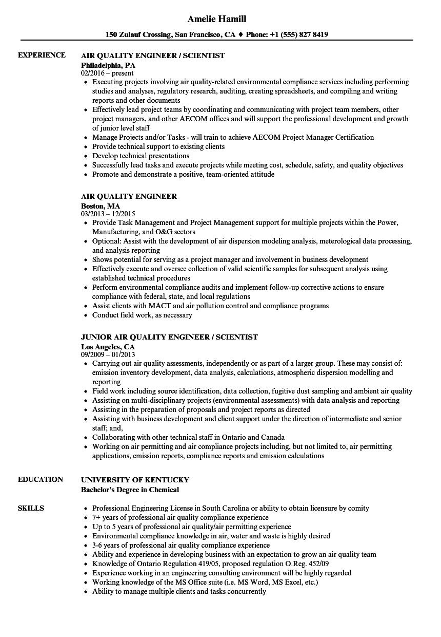 Air Quality Engineer Resume Samples Velvet Jobs