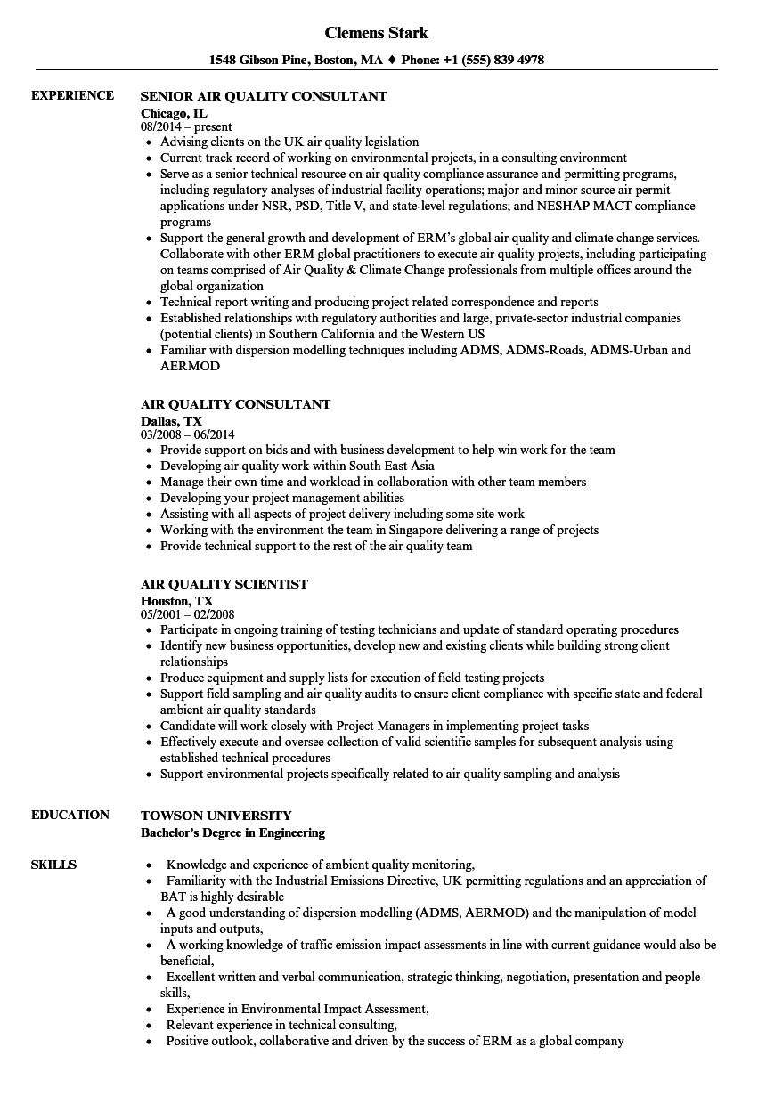 Air Quality Resume Samples | Velvet Jobs