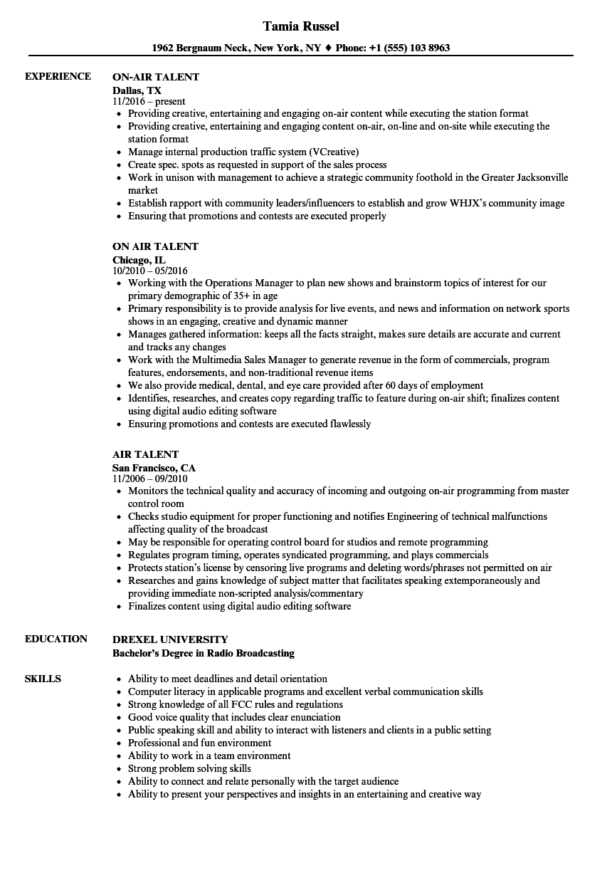 On Air News Anchor/Radio Personality Resume Example ...