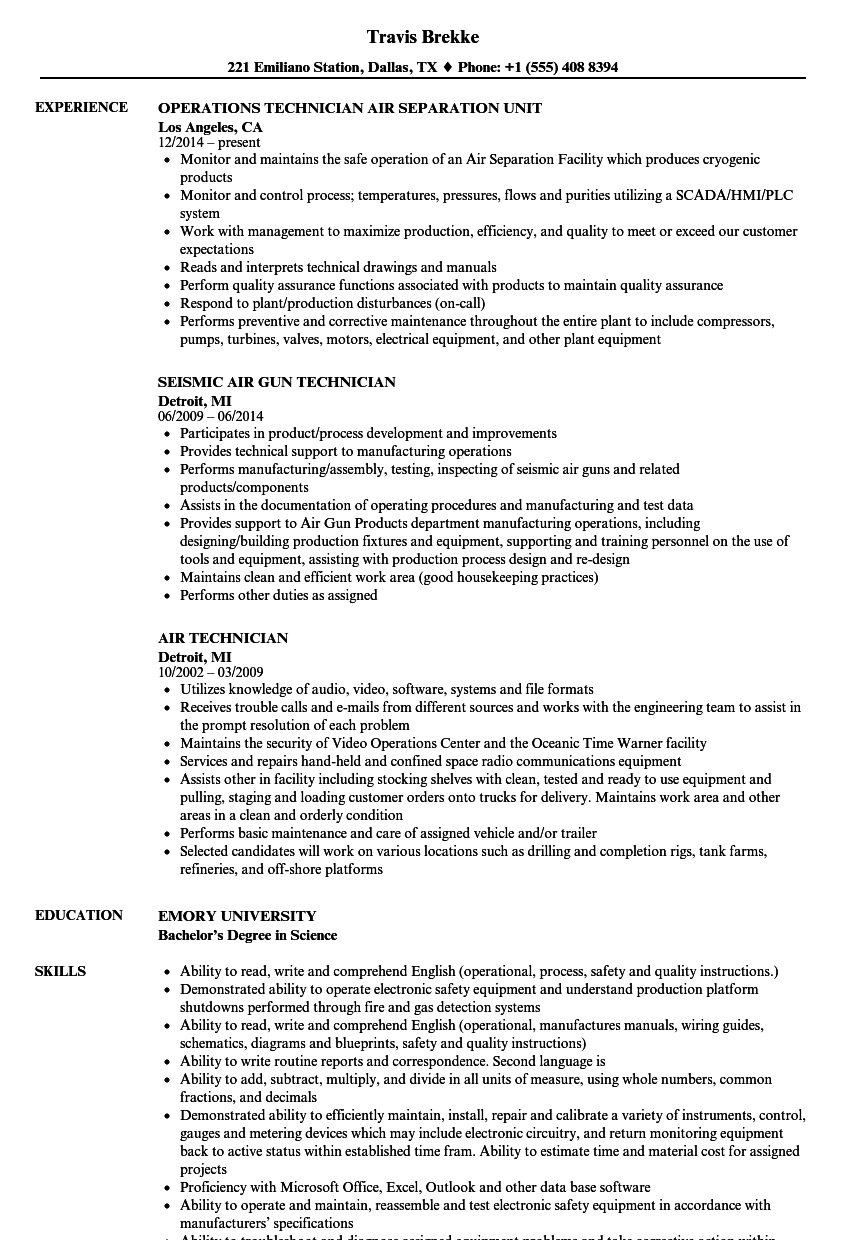Air Technician Resume Samples | Velvet Jobs