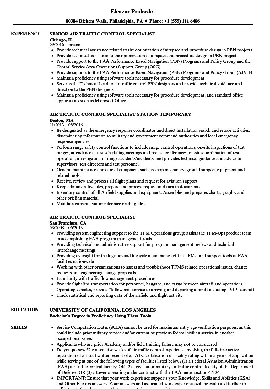 Air Traffic Control Specialist Resume Samples | Velvet Jobs