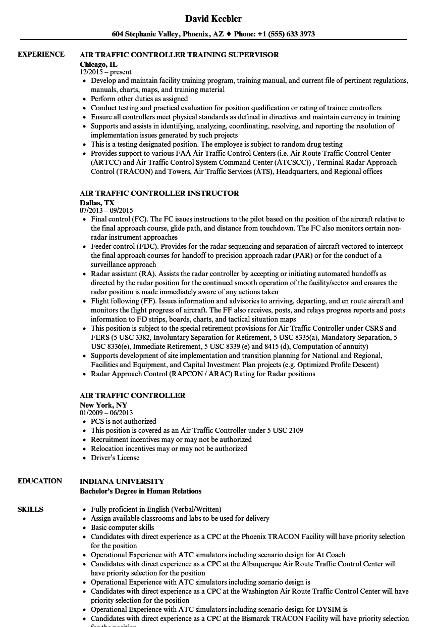 Air Traffic Controller Resume Samples | Velvet Jobs