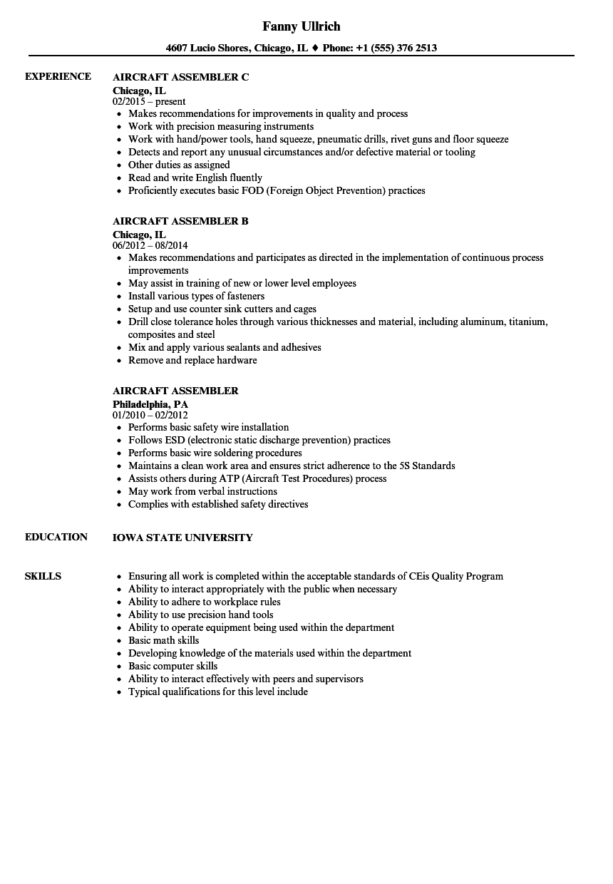 Aircraft Assembler Resume Samples | Velvet Jobs