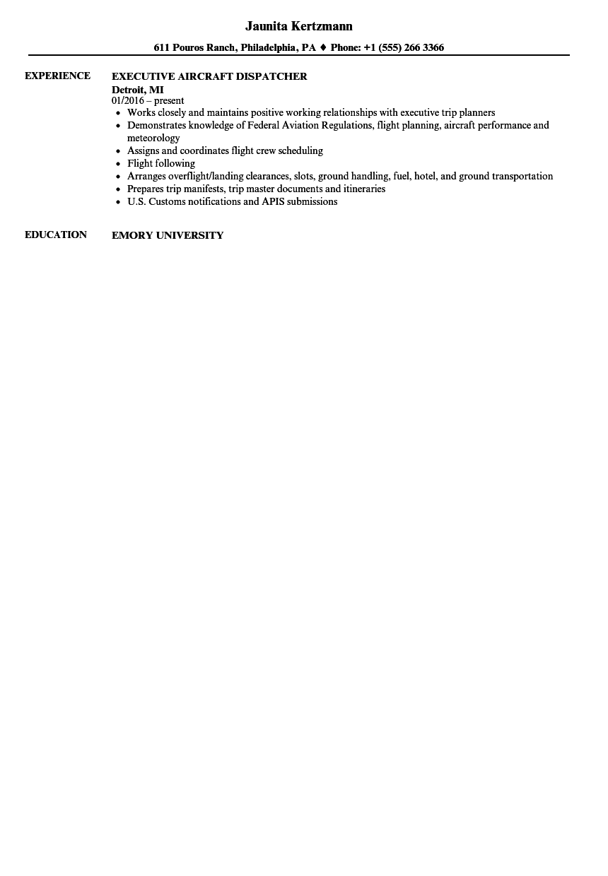 aircraft dispatcher resume samples