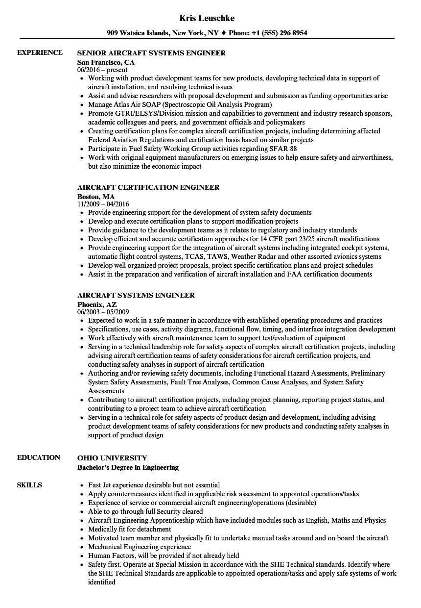 aircraft engineer resume samples