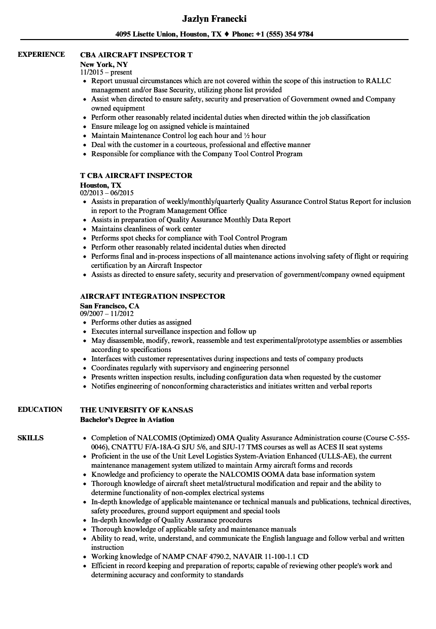 Aircraft Inspector Resume Samples | Velvet Jobs