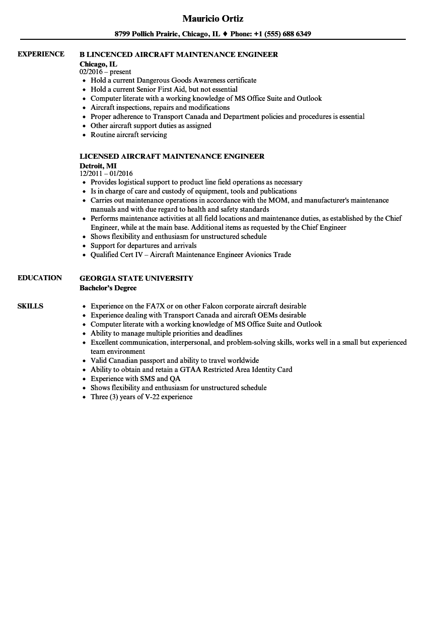 aircraft maintenance engineer resume samples velvet jobs