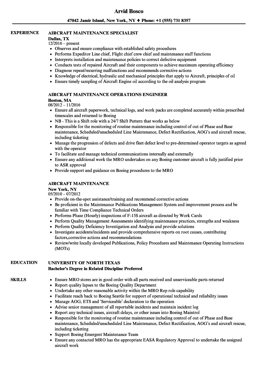 aircraft maintenance resume samples