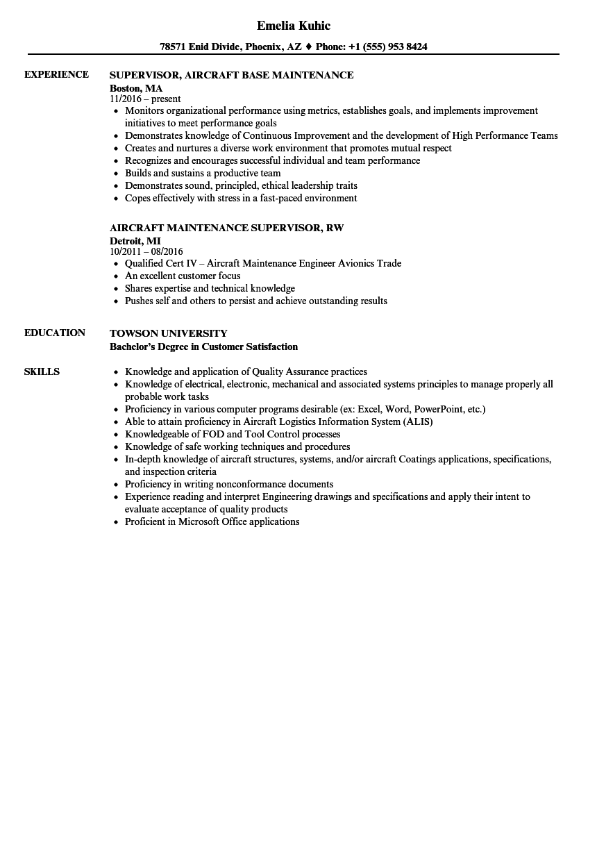 Aircraft Maintenance Supervisor Resume Samples | Velvet Jobs