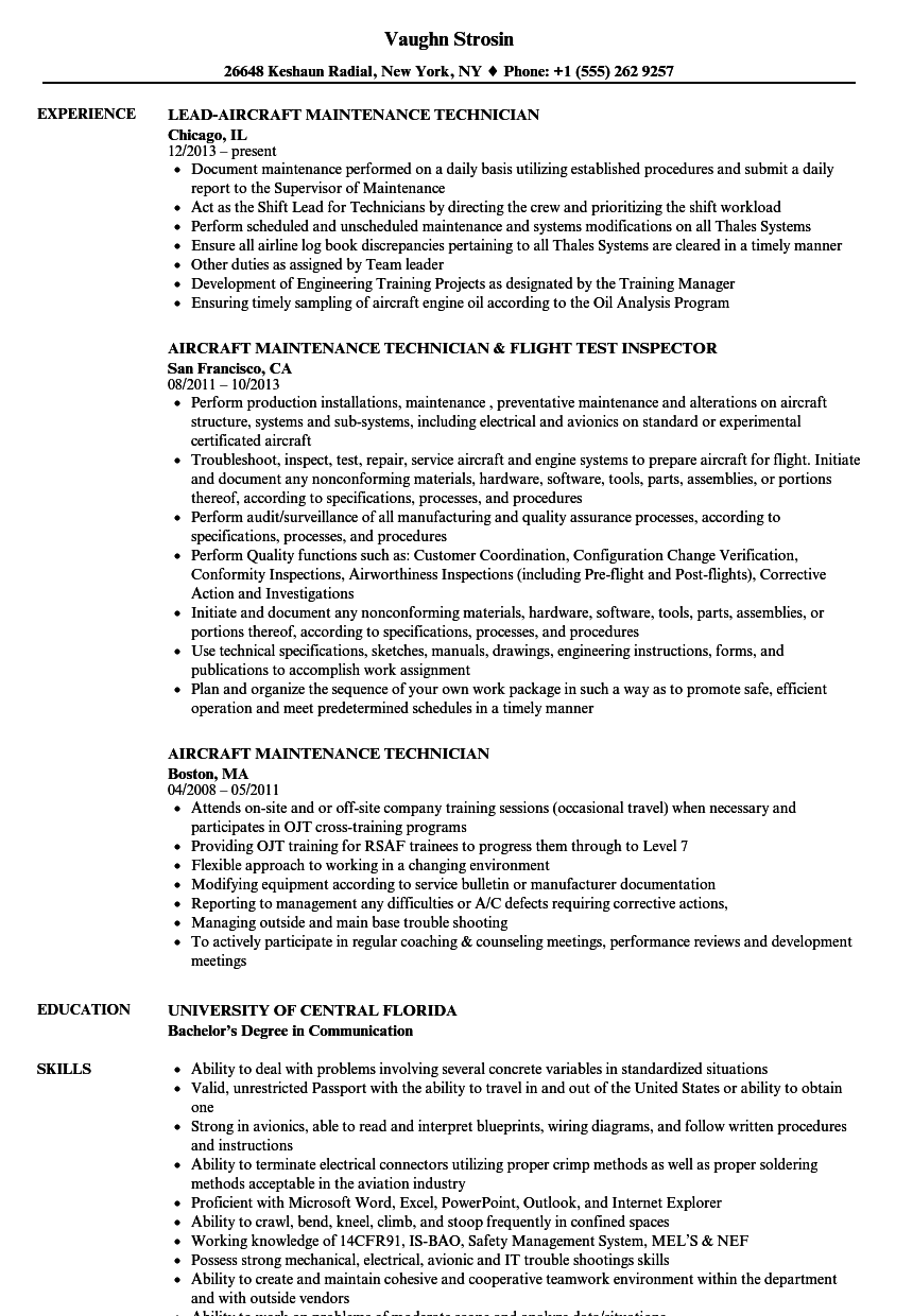 aircraft maintenance technician resume samples