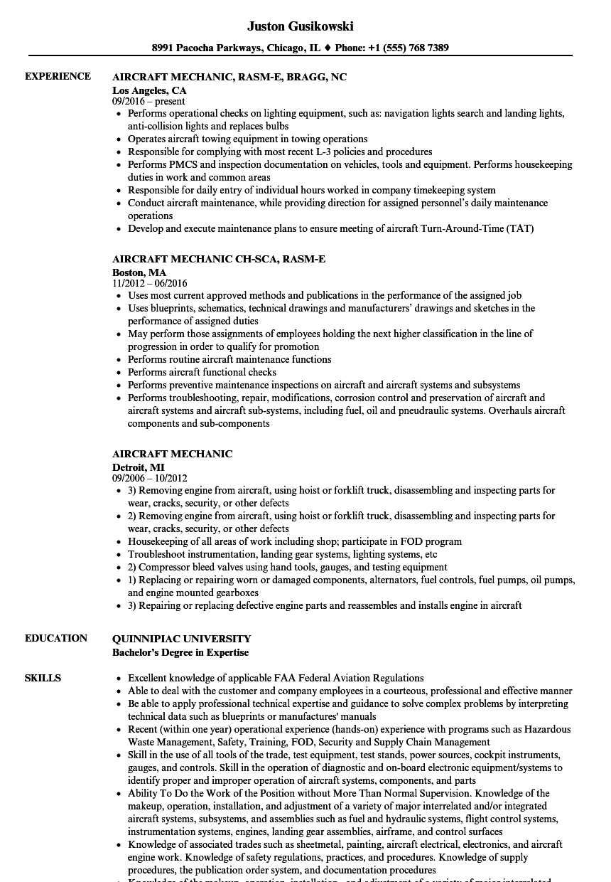 Aircraft Mechanic Resume Samples | Velvet Jobs