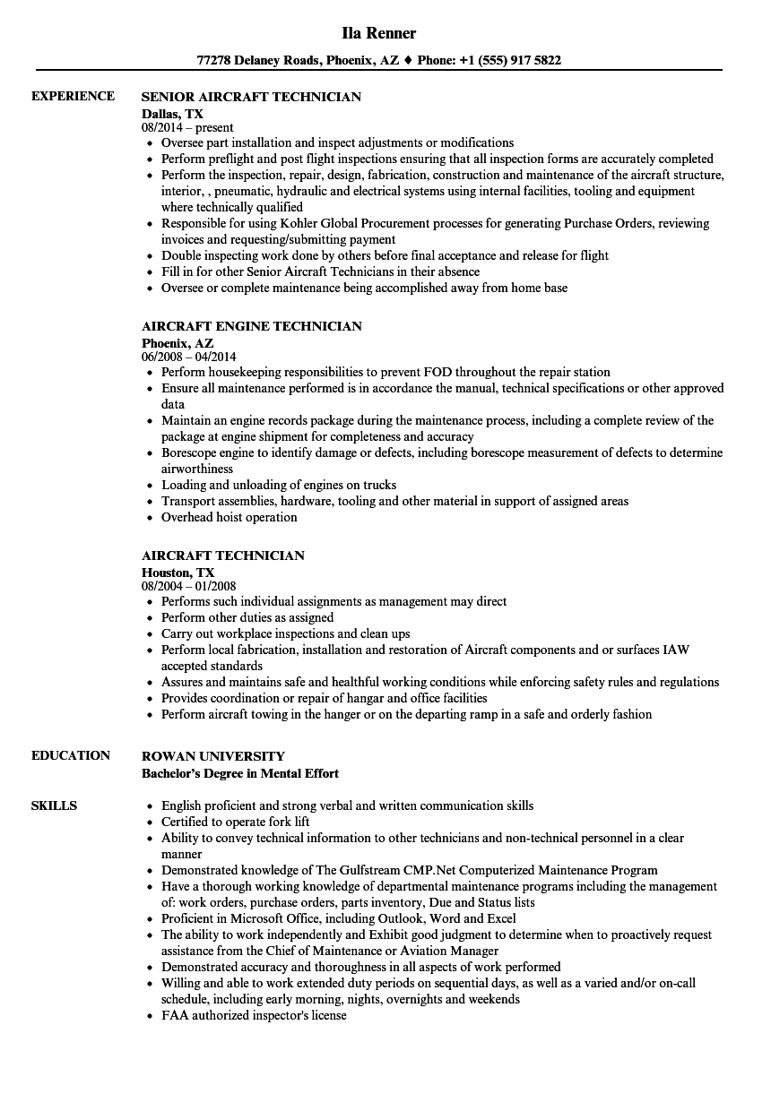 Nice Download Aircraft Technician Resume Sample As Image File