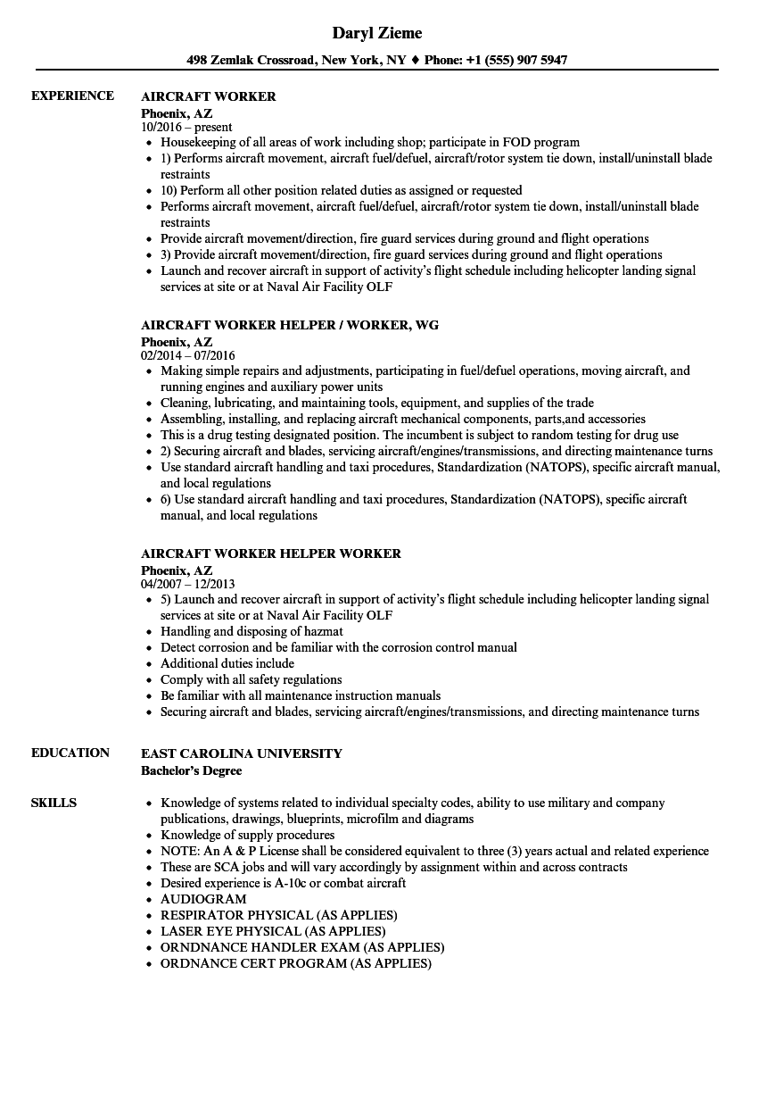 aircraft worker resume samples