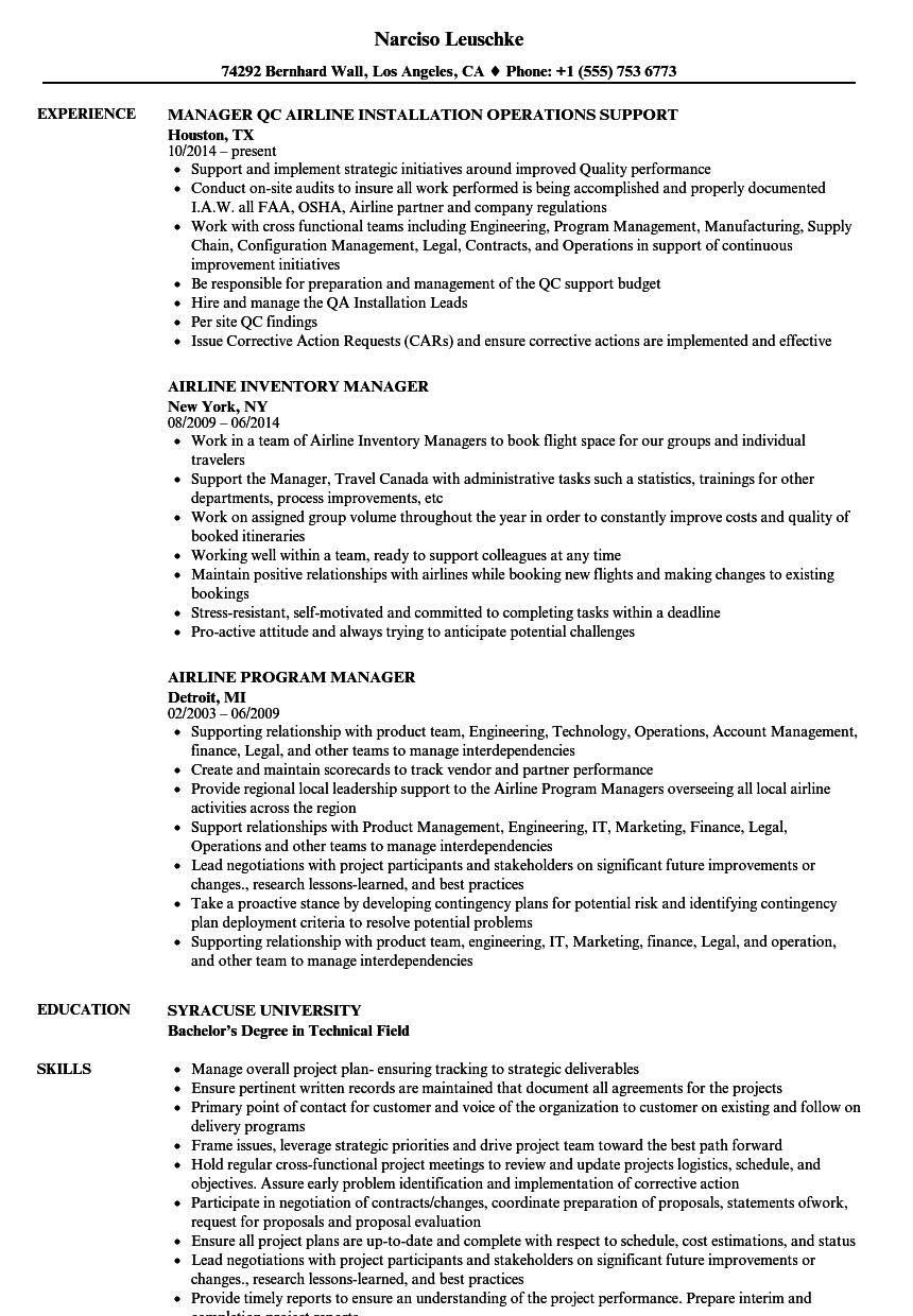 Airline Manager Resume Samples | Velvet Jobs