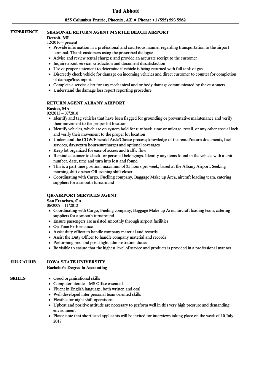 ground service agent resume
