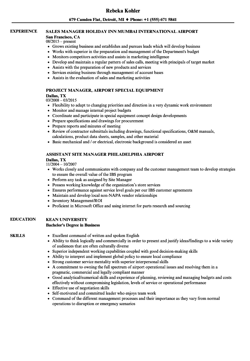 Airport Manager Resume Samples | Velvet Jobs