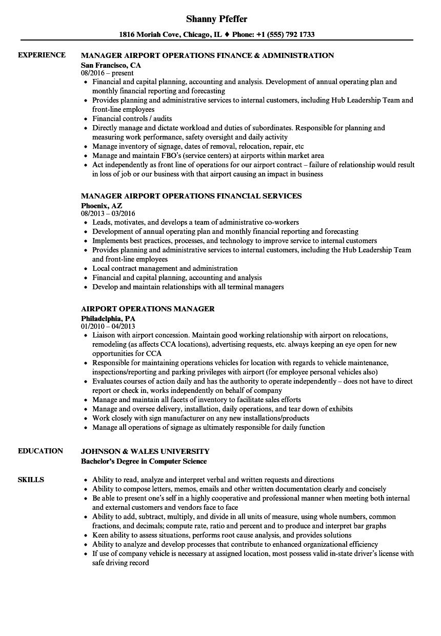 Airport Operations Manager Resume Samples | Velvet Jobs