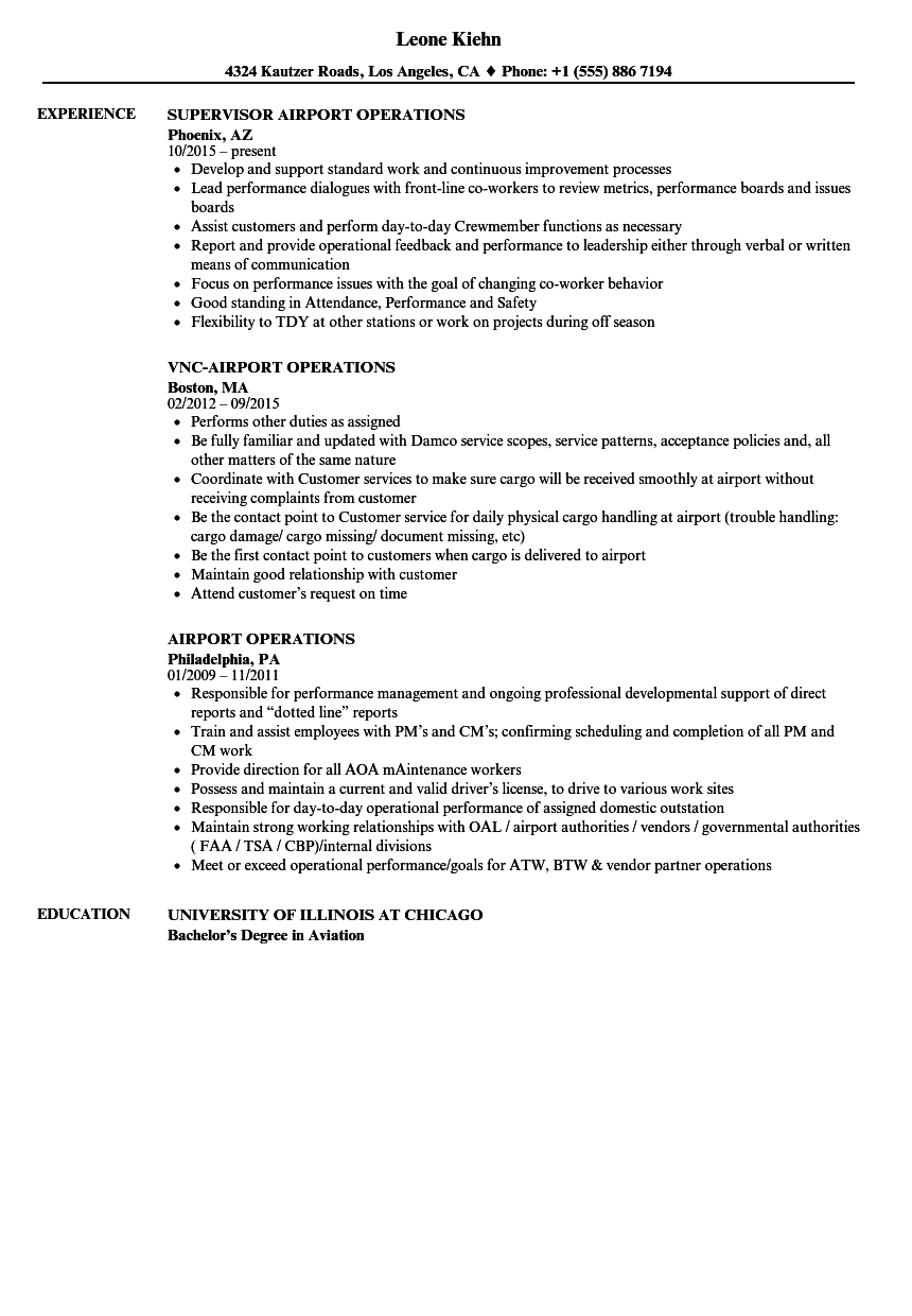 download airport operations resume sample as image file - Fixed Base Operator Sample Resume