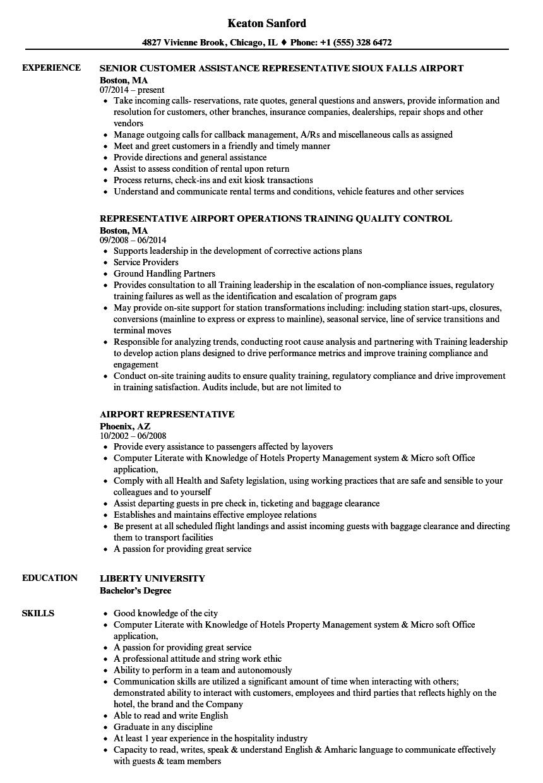 airport representative resume samples