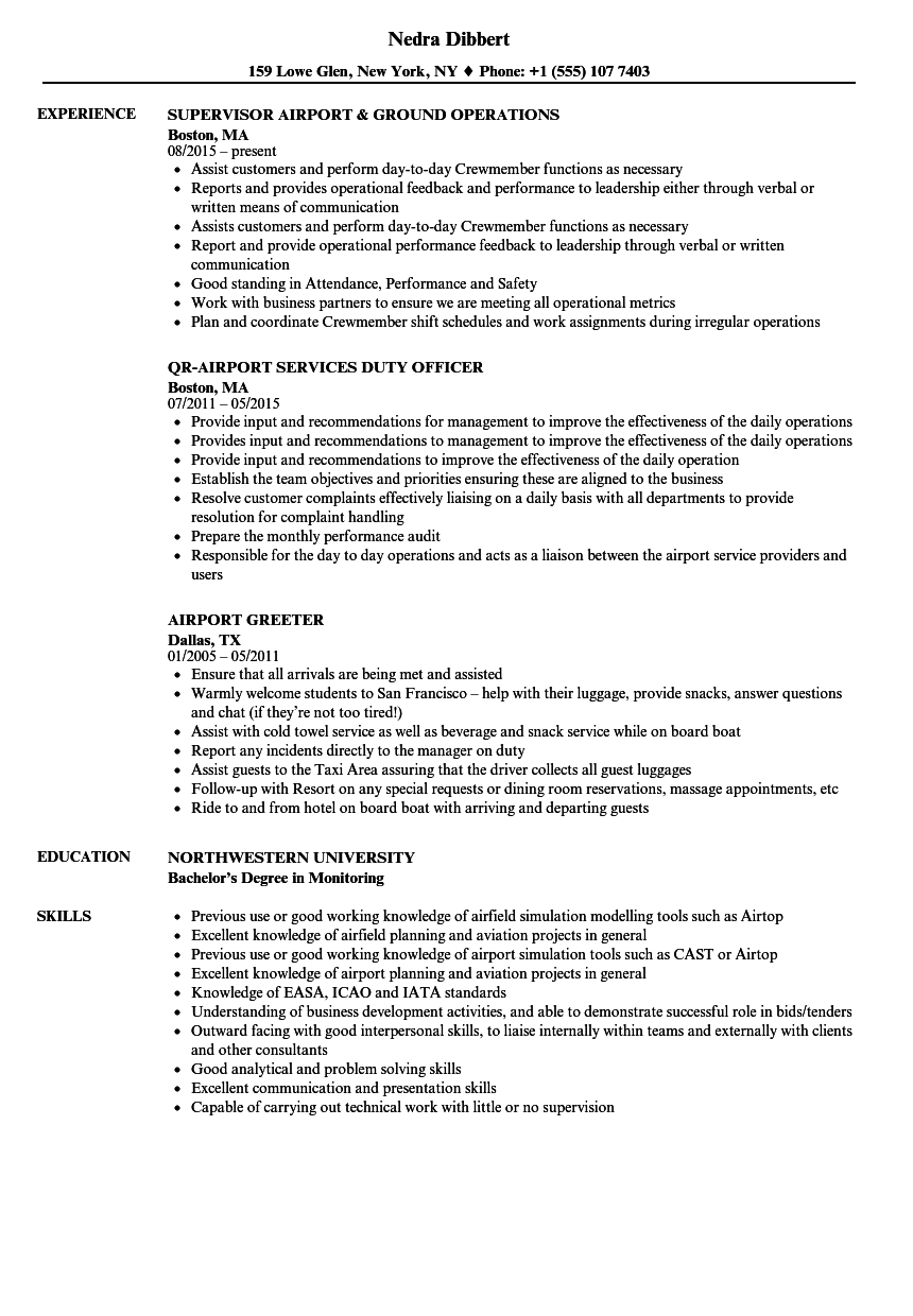 Airport Resume Samples Velvet Jobs