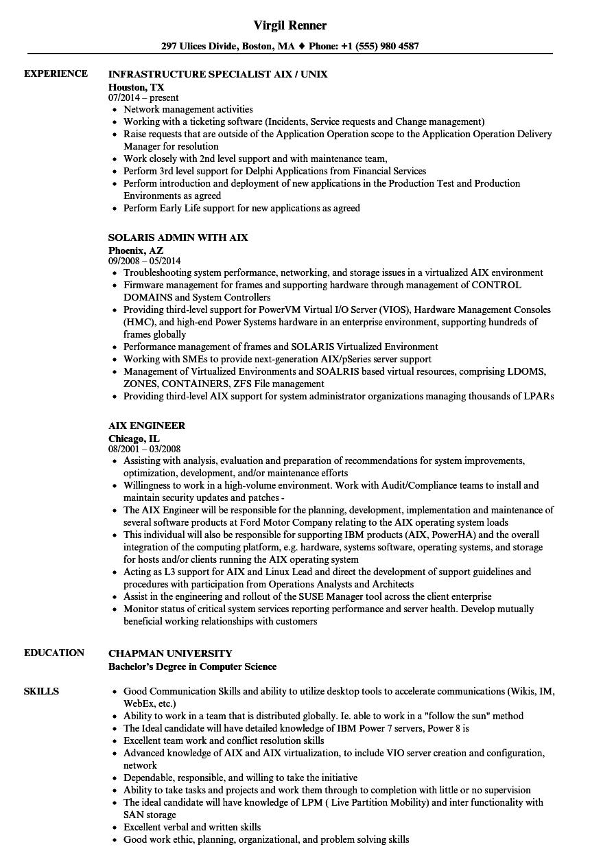 aix resume samples