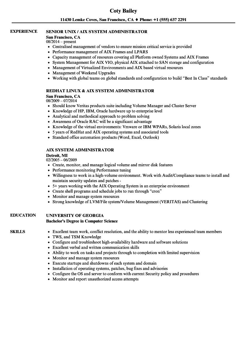 Aix System Administrator Resume Samples Velvet Jobs
