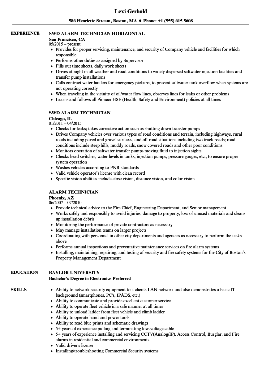 Alarm Technician Resume Samples | Velvet Jobs