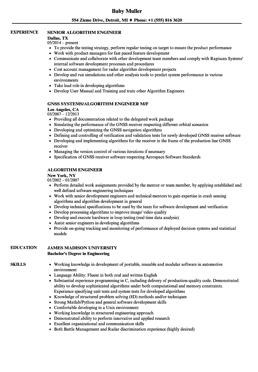 Algorithm Engineer Resume Samples  Velvet Jobs