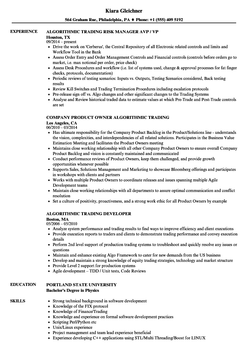 Algorithmic Trading Resume Samples | Velvet Jobs