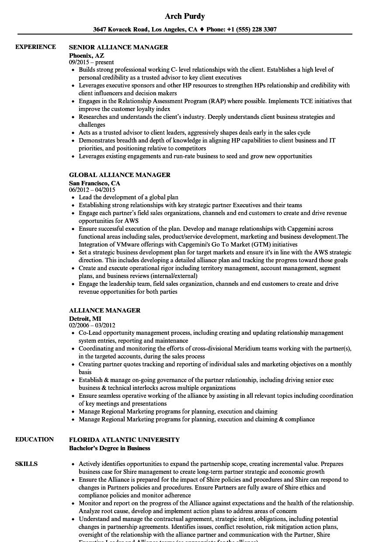 Alliance Manager Resume Samples | Velvet Jobs
