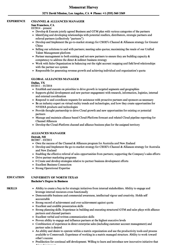 Alliances Manager Resume Samples | Velvet Jobs