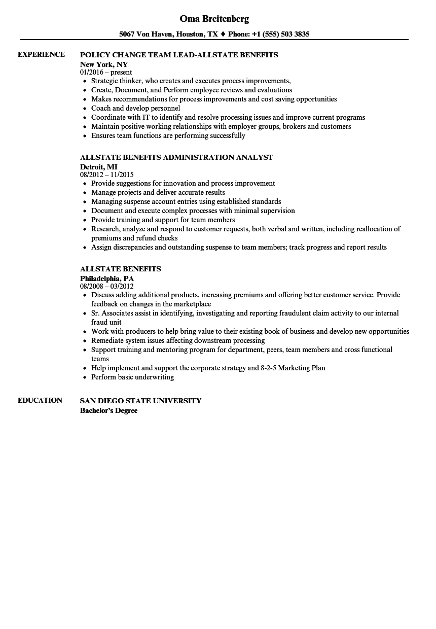allstate benefits resume samples